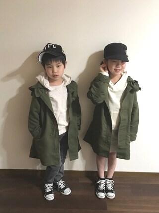 R♡Sさんの「モッズコート(BRANSHES ブランシェス)」を使ったコーディネート