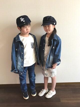 R♡Sさんの「ステンシルスタープリント長袖Tシャツ(RADCHAP|ラッドチャップ)」を使ったコーディネート