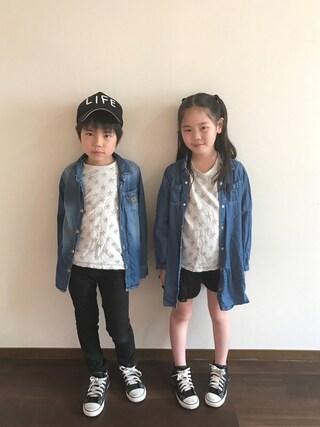 R♡Sさんの「星ジャカード長袖Tシャツ(BRANSHES|ブランシェス)」を使ったコーディネート