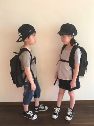R♡Sさんの「キッズ ユーズドウォッシュTシャツ(LI HUA|リーファー)」を使ったコーディネート