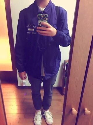 てるやさんの「MEN プレミアムリネンスタンドカラーシャツ(長袖)(ユニクロ|ユニクロ)」を使ったコーディネート