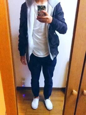 てるやさんの「【Hanes/ヘインズ】ジャパンフィット JAPAN FIT 【2枚組】クルーネックTシャツ(HANES)」を使ったコーディネート