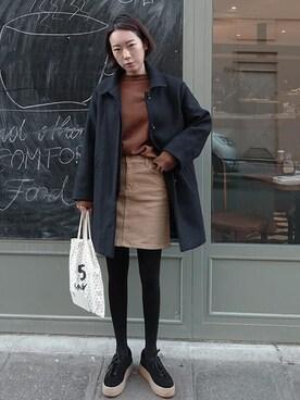 ZEMMAWORLD|ZEMMAWORLDさんの「Aラインカラーデニムスカート」を使ったコーディネート