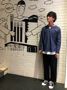 RAGEBLUEイオンモール浜松市野店|片岡亮平さんのシャツ/ブラウス「綿麻キーネックプルオーバーシャツ/751498(RAGEBLUE|レイジブルー)」を使ったコーディネート