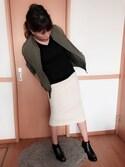 funnymaさんの「WOMEN エクストラファインメリノVネックセーター(長袖)(ユニクロ|ユニクロ)」を使ったコーディネート