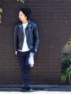 VIZ STORE-TOKYO|NISHIDA.Yさんの「ROYALS レザースニーカー(VIRGO)」を使ったコーディネート
