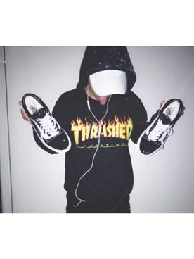 Taishiさんの「【THRASHER/スラッシャー】スウェットパーカー-FRAME LOGO-(THRASHER)」を使ったコーディネート