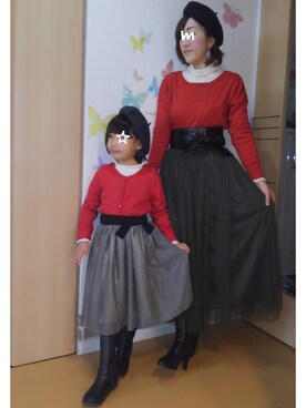 mintoさんの「娘コートはクリスマスっぽいカラーでお気に入り❤(アウターver.)」を使ったコーディネート