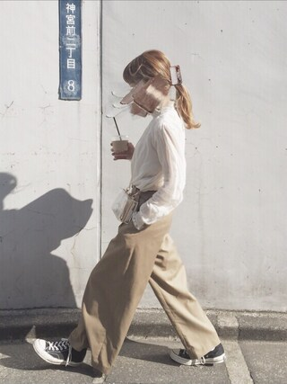 にしむら ゆきさんの「80Sコットンシフォン       レース付シャーリング長袖ブラウス(Dot&Stripes CHILD WOMAN|ドットアンドストライプス チャイルドウーマン)」を使ったコーディネート