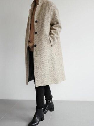 holicholic|holicholicさんの「ヘリンボーン柄ロングコート」を使ったコーディネート