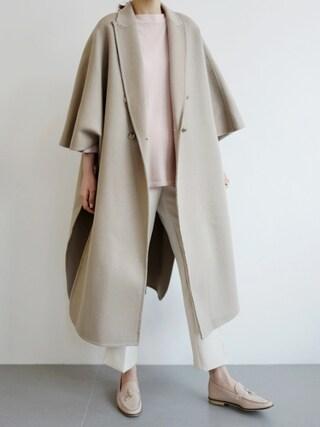 holicholic|holicholicさんの「ケーブ風6分袖ウール混コート」を使ったコーディネート