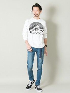 アーバンリサーチ KYOTO|otsukiさんのTシャツ/カットソー「ST.MORITZ SUPERSOFT CLASSIC LONG SLEEVE TEE(URBAN RESEARCH|アーバンリサーチ)」を使ったコーディネート