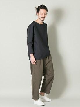 アーバンリサーチ KYOTO|otsukiさんのTシャツ/カットソー「RED SEAM 8分袖シャツ(URBAN RESEARCH|アーバンリサーチ)」を使ったコーディネート
