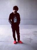 にしむらさんの「adidas originals/アディダスオリジナルス/REFLECTIVE TRACK JerseyTops(adidas originals|アディダスオリジナルス)」を使ったコーディネート