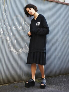 PAMEO POSE CONCEPT SHOP|PAMEO POSEさんの「OLE! SWEAT DRESS(PAMEO POSE|パメオポーズ)」を使ったコーディネート