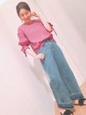 mijuさんの「袖リボンギャザースリーブブラウス(natural couture|ナチュラルクチュール)」を使ったコーディネート