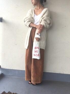 emiko☆さんの「ハンドニットカーディガン(TODAYFUL|ジーユー)」を使ったコーディネート