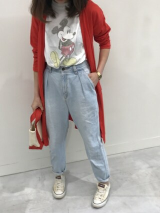 copine|ikuさんの「★再入荷★ミッキープリントロングTシャツ(4color)(copine|コピン)」を使ったコーディネート