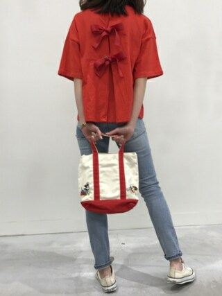 copine|ikuさんの「★再々入荷★大人可愛いバッグリボンTシャツ・スウェット(3color)(copine|コピン)」を使ったコーディネート