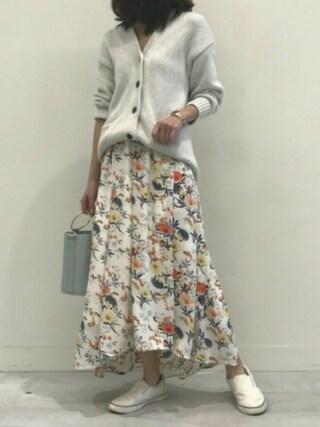 copine|ikuさんの「★予約販売/4月上旬再入荷★花柄アシンメトリーロングスカート(4color)(copine|コピン)」を使ったコーディネート
