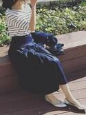 ikuさんの「2WAYシンプルボーダーVネックTシャツ(3color)(copine|コピン)」を使ったコーディネート