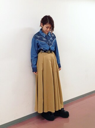 「SULK OFF TACK SKIRT(Candy Stripper)」 using this IMALU looks