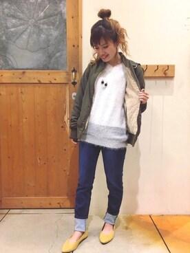 SHOO・LA・RUE|chihiroさんの「フェザーVネックニット(SHOO・LA・RUE)」を使ったコーディネート