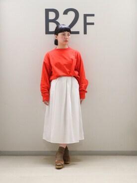 ADAM ET ROPE' LUMINE大宮 sayuri maedaさんのTシャツ/カットソー「ビッグシルエットロングスリーブTシャツ(ADAM ET ROPE' アダム エ ロペ)」を使ったコーディネート