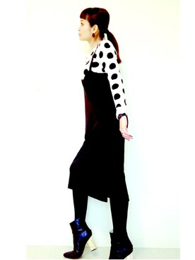 MMNさんの「LEATHER MARBLE HEEL ANKLE BOOTS(G.V.G.V.)」を使ったコーディネート