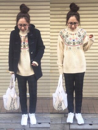 maiko さんの「プチハイネック全面刺繍後ろ長めデザインボリュームニット(select MOCA|セレクトモカ)」を使ったコーディネート