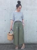 maiko さんの「カカトゥ kakatoo / バンダナ付き柳バケツ型かごバッグ(kakatoo|カカトゥ)」を使ったコーディネート