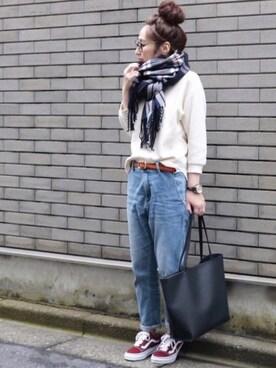 maiko さんの「ワッフルクルーネックT(七分袖)(UNIQLO)」を使ったコーディネート