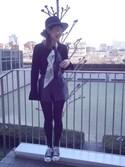 下島麻子さんの「フリルスリーブニット(LE CIEL BLEU|ルシェルブルー)」を使ったコーディネート