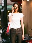 Ai Suzukiさんの「WOMEN リブクルーネックT(半袖)(ユニクロ|アー・ペー・セー)」を使ったコーディネート