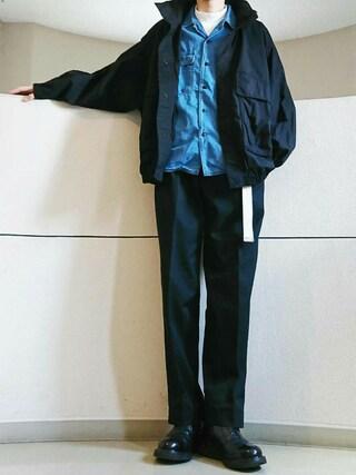 alfredo BANNISTER 本社スタッフ|佐藤篤さんの「ESTNATION バイオブリーチ加工ワークシャツ(ESTNATION|エストネーション)」を使ったコーディネート