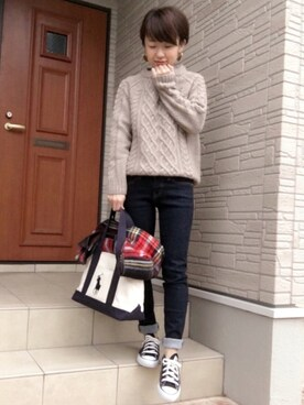 aaachan♡*さんの「WOMEN レギュラーフィットジーンズ(ハイライズ)(ユニクロ|ユニクロ)」を使ったコーディネート