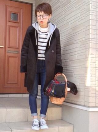aaachan♡*さんの「プレーティングボーダー ボトルネックプルオ(SEVENDAYS=SUNDAY|セブンデイズサンデイ)」を使ったコーディネート