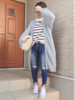 aaachan♡*さんの「・ブークレ ロングトッパーカーディガン(SEVENDAYS=SUNDAY|セブンデイズサンデイ)」を使ったコーディネート