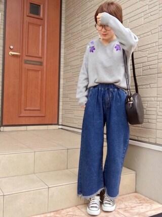 aaachan♡*さんの「・ショルダー刺繍 長袖プルオーバー(SEVENDAYS=SUNDAY セブンデイズサンデイ)」を使ったコーディネート