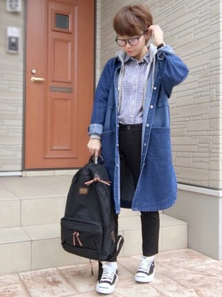 aaachan♡*さんの「(GU)ウォッシュブロードシャツ(ギンガム・長袖)(GU ジーユー)」を使ったコーディネート