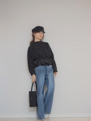 田中亜希子さんの「ぺプラムデザイントップス(fifth|フィフス)」を使ったコーディネート