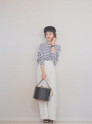 「TWW 別注 ビッグマリンシャツプルオーバー◆(IENA)」 using this 田中亜希子 looks