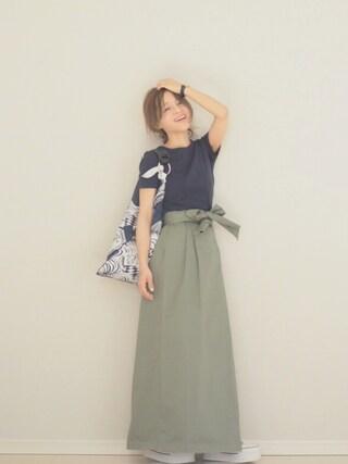 「クルーネック半袖Tシャツ(PETIT BATEAU)」 using this 田中亜希子 looks