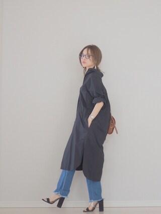 「タイプライターロングシャツワンピース#(JOURNAL STANDARD relume)」 using this 田中亜希子 looks