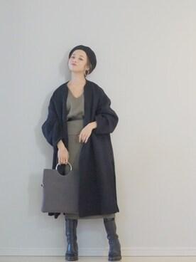 田中亜希子さんの「LAMB コート◆(Deuxieme Classe ドゥーズィエムクラス)」を使ったコーディネート