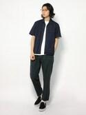 Yudai Ishiiさんの「ポリエステルストレッチ オープンカラーシャツ(ABAHOUSE|フリークスストア)」を使ったコーディネート