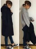 yunさんの「ふんわりカシミアタッチ大判ストール ◇リバーシブルデザイン◇(reca|レカ)」を使ったコーディネート