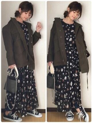 yunさんの「【SHARED】GRAPHICミリタリージャケット(EMODA|エモダ)」を使ったコーディネート