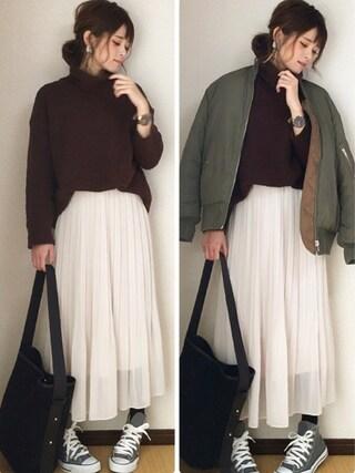 yunさんの「WOMEN シフォンプリーツスカート(ユニクロ|ユニクロ)」を使ったコーディネート