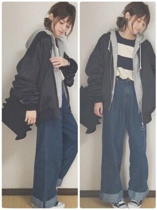 yunさんの「WOMEN スウェットフルジップパーカ(長袖)(ユニクロ|ユニクロ)」を使ったコーディネート